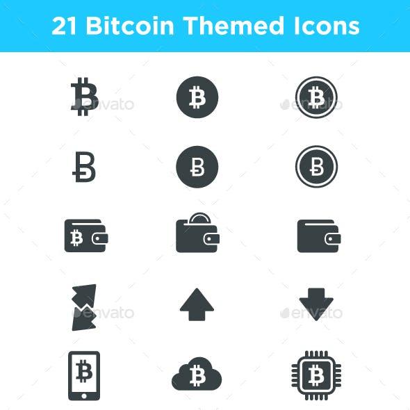 21 Bitcoin and Blockchain Themed Icons