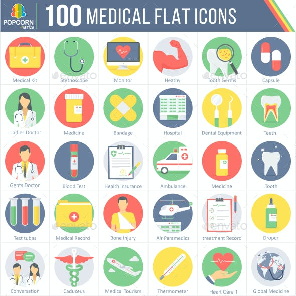 100 Medical Round Flat