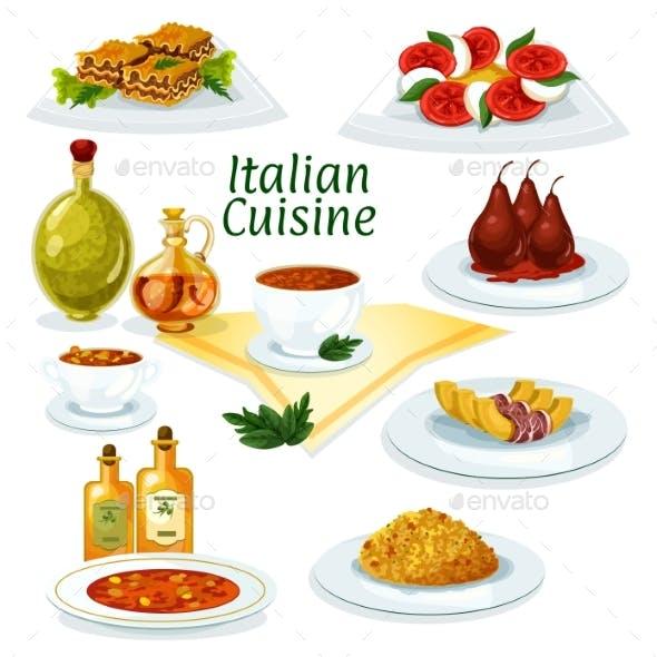 Italian Cuisine Cartoon Icon for Restaurant Design