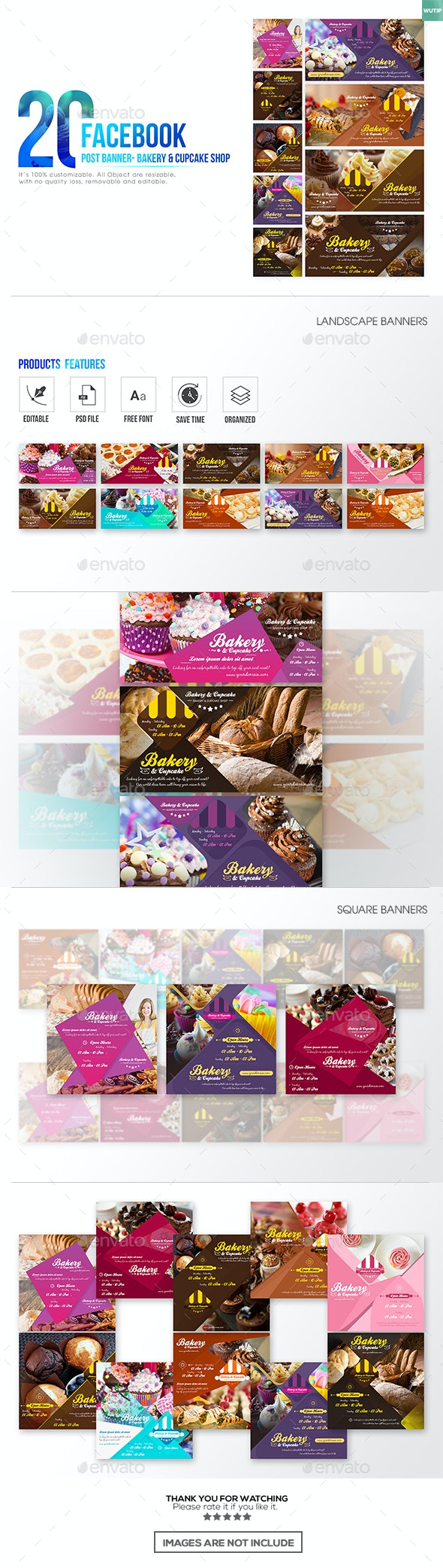 20 Facebook Post Banner - Bakery and Cupcake Shop - Banners & Ads Web Elements