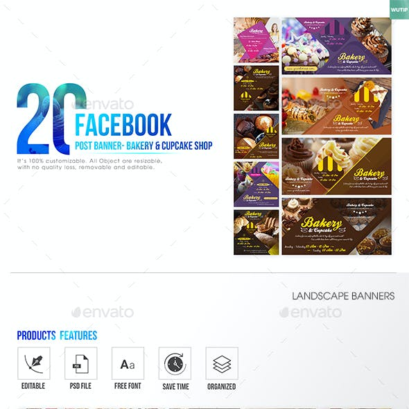 20 Facebook Post Banner - Bakery and Cupcake Shop