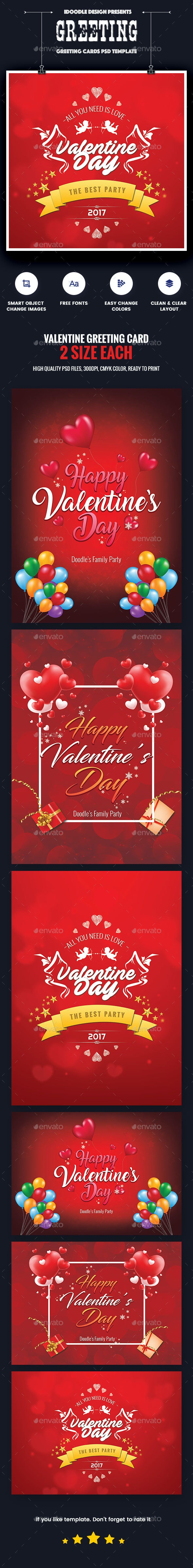 Valentine Greeting Card - 06 PSD [02 Size Each - 7x5 & 5x7] - Anniversary Greeting Cards