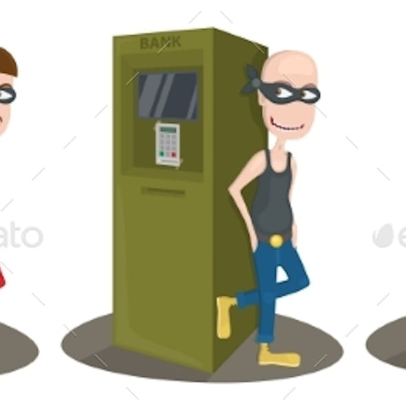 Thief Near the ATM on White Background