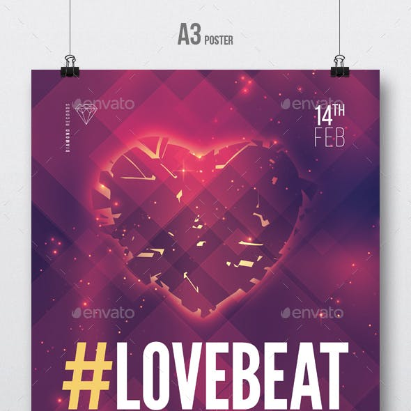 Love Beat vol2 - House Music Party Flyer / Poster Template A3
