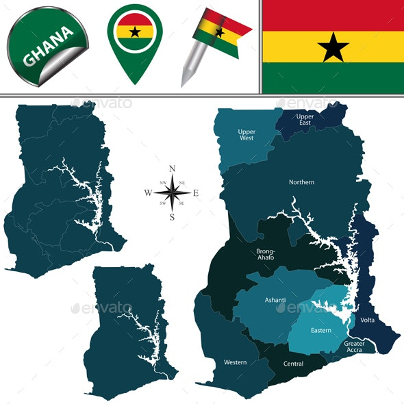 Map of Ghana with Named Region - Travel Conceptual