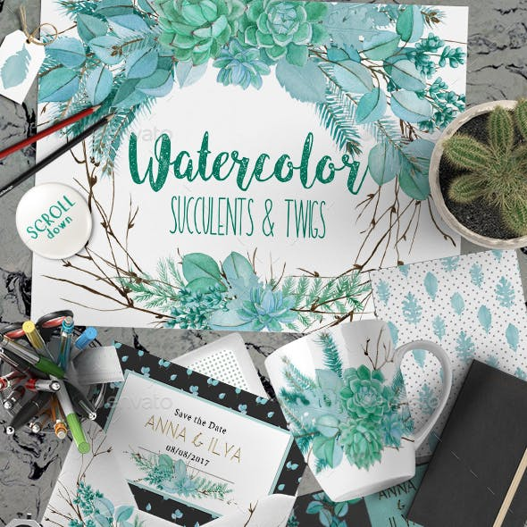 Watercolor Succulents Bouquets and Wreaths