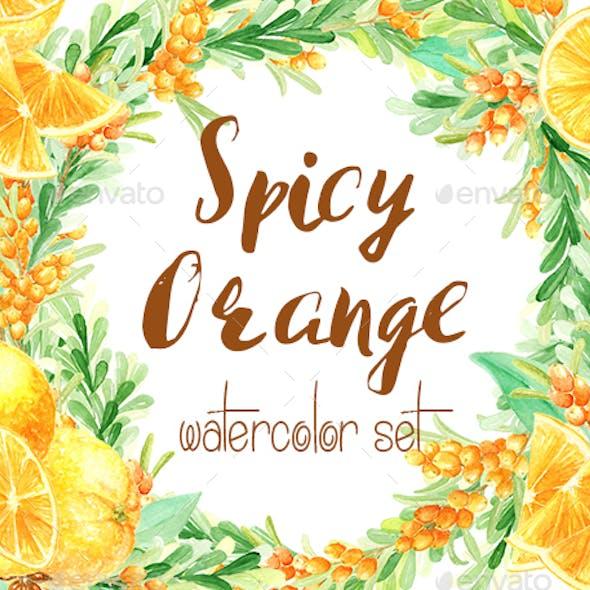 Watercolor Spicy Orange Set