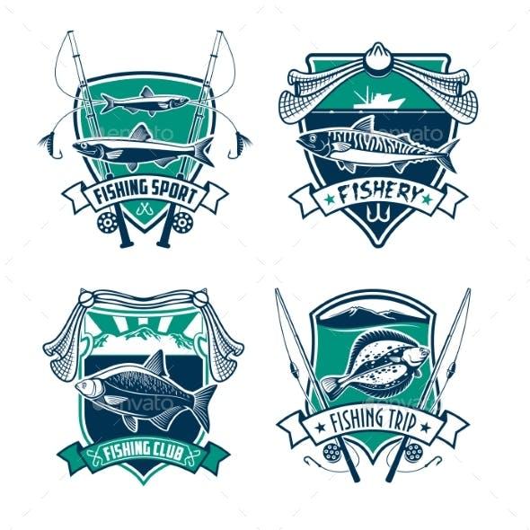 Fishing Sport Club Heraldic Badge Set Design