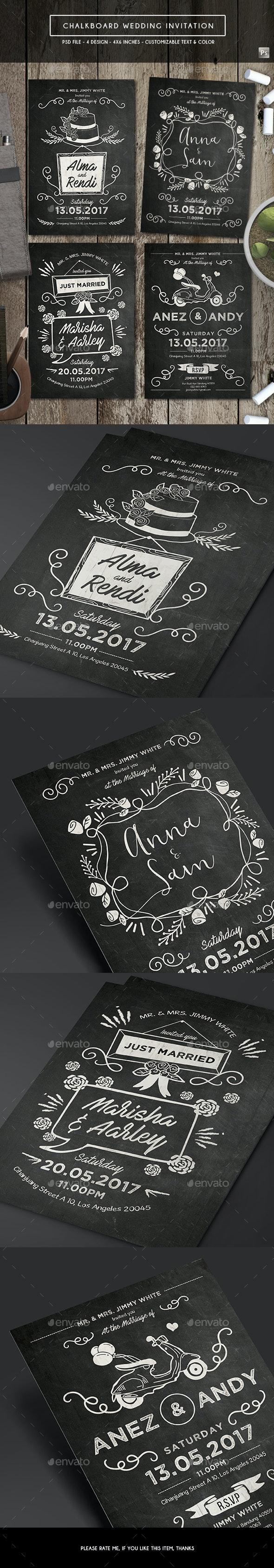Chalkboard Invitation - Weddings Cards & Invites
