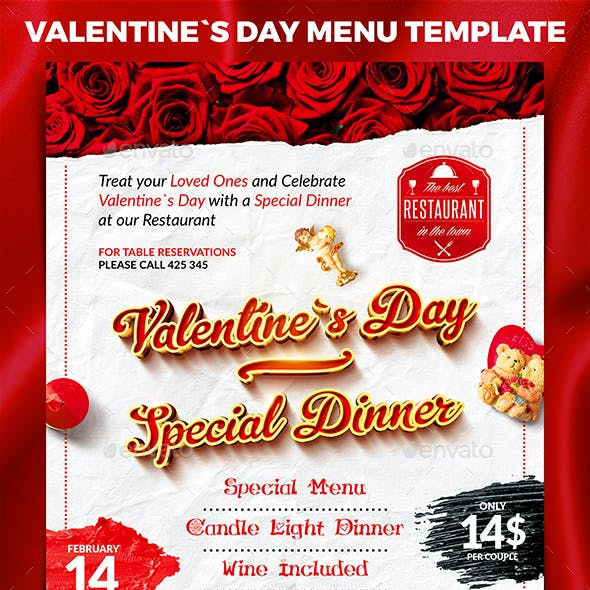 Valentine`s Day Menu Template
