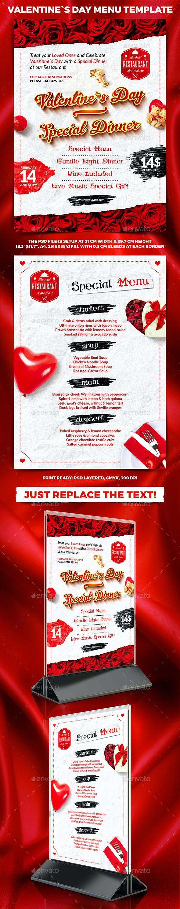 Valentine`s Day Menu Template - Food Menus Print Templates