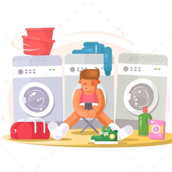 Man in Underwear Waiting Washing