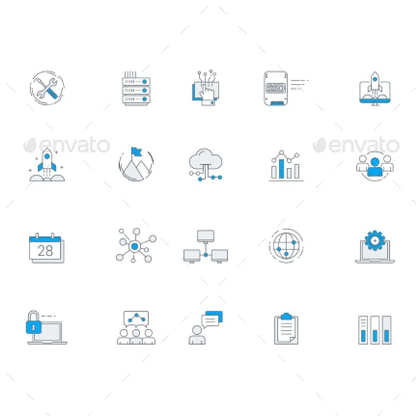 IT Services & Software Business Icon Set