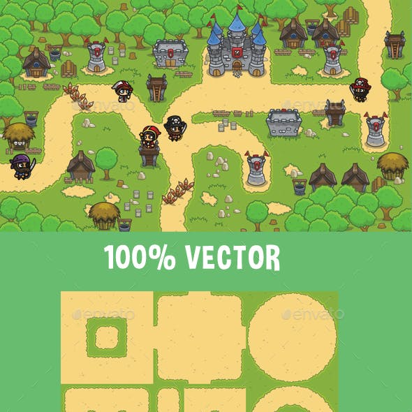 Top-Down Medieval Forest Game Tileset