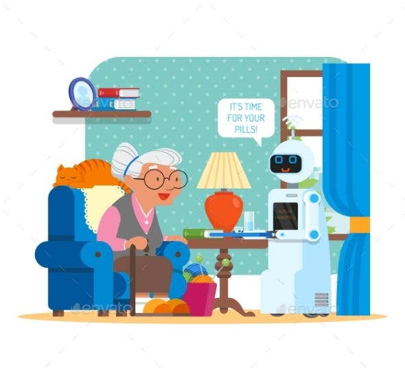 Vector Illustration of Home Robot Giving Pills To