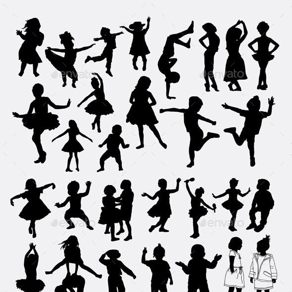 Attractive kids silhouette