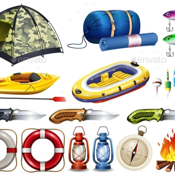 Camping set with tent and other equipment