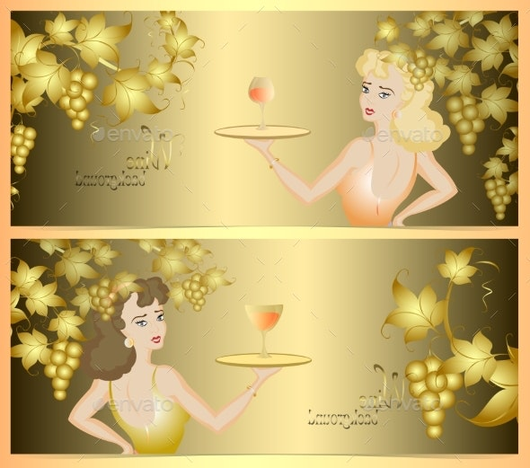 Double Wine Background with a Golden Bunch of - People Characters