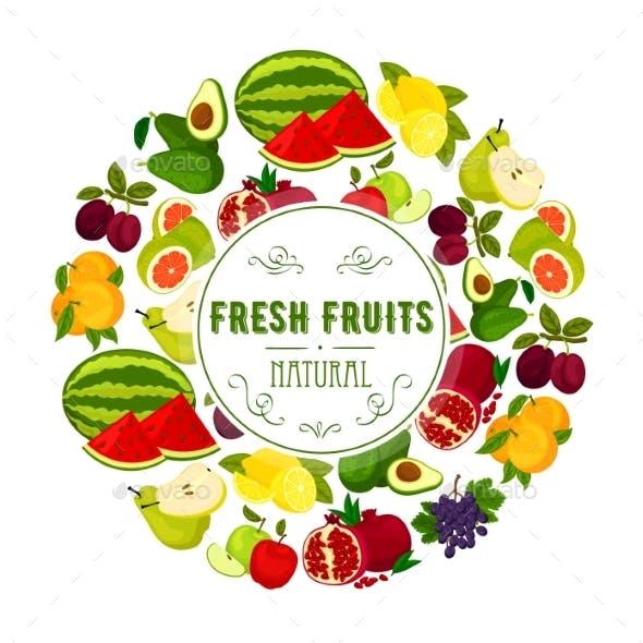 Natural Fresh Fruits Round Label Design
