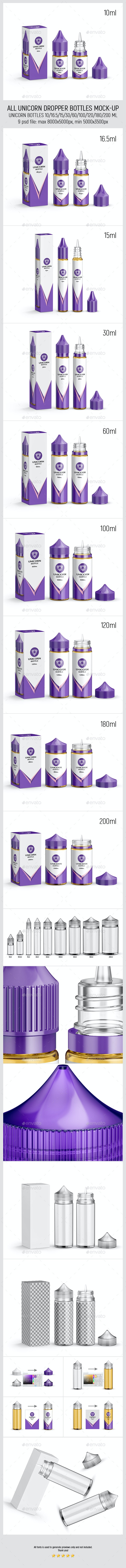 All Unicorn Dropper Bottles Mock-up - Miscellaneous Packaging