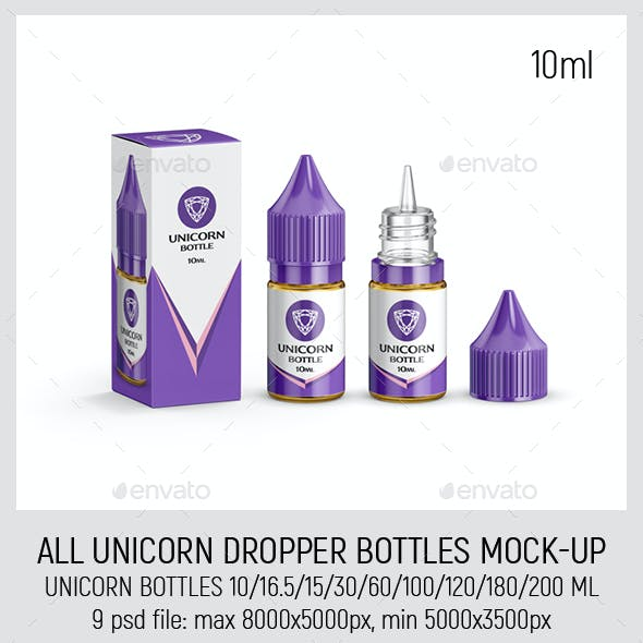 All Unicorn Dropper Bottles Mock-up