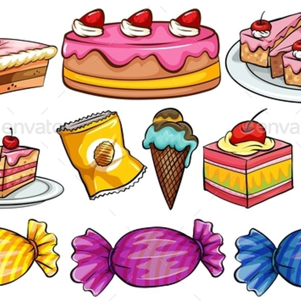 Different Types of Desserts on White