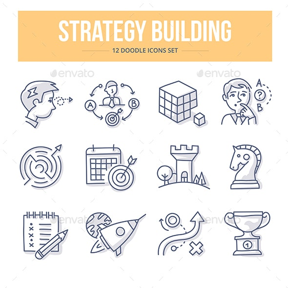 Strategy Building Doodle Icons - Business Icons