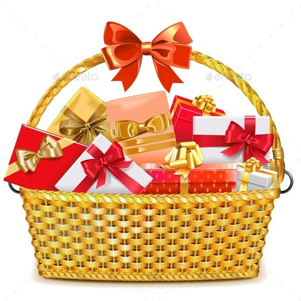 Wicker Basket with Gifts