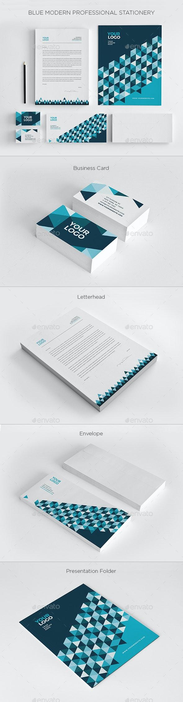 Blue Modern Professional Stationery - Stationery Print Templates