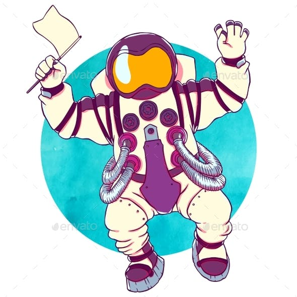 Illustration Greeting Astronaut Silver Space Suit