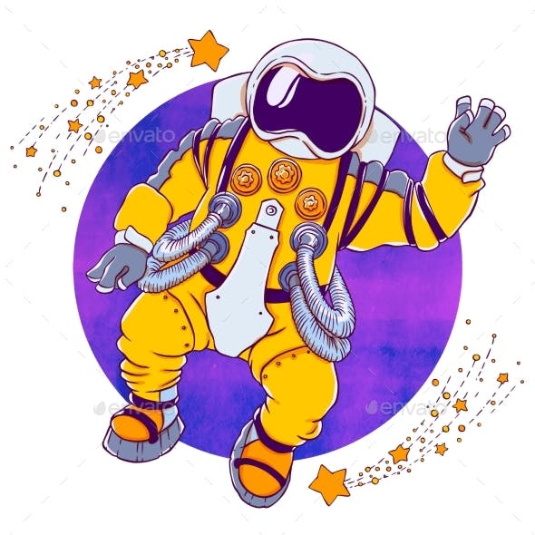 Illustration Greeting Astronaut