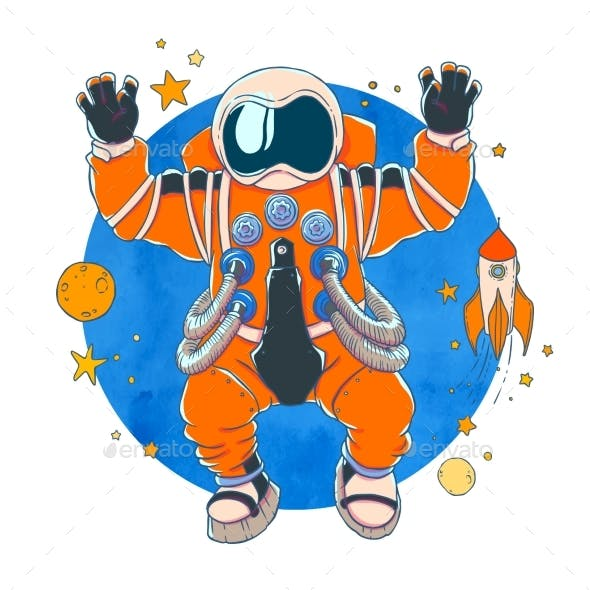 Illustration of an Astronaut in Orange Space Suit