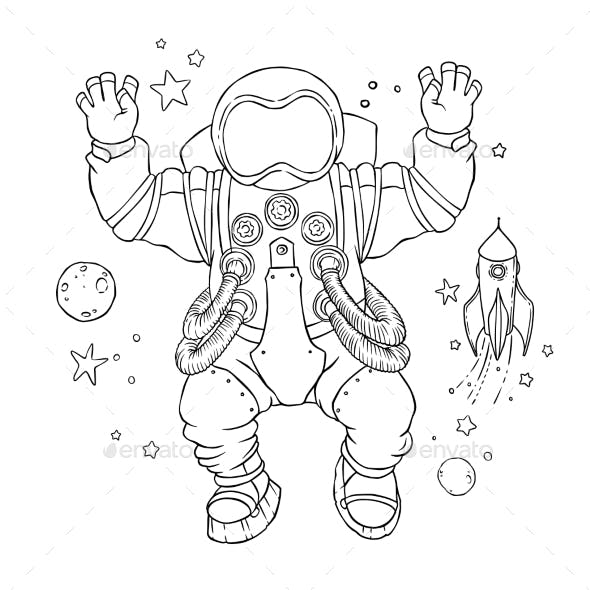 Illustration of an Astronaut in Space Suit