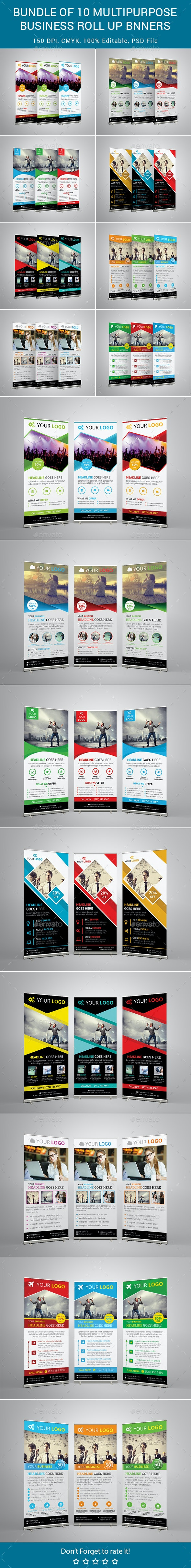 Bundle of 8 Multipurpose Business Rollup Banners - Signage Print Templates