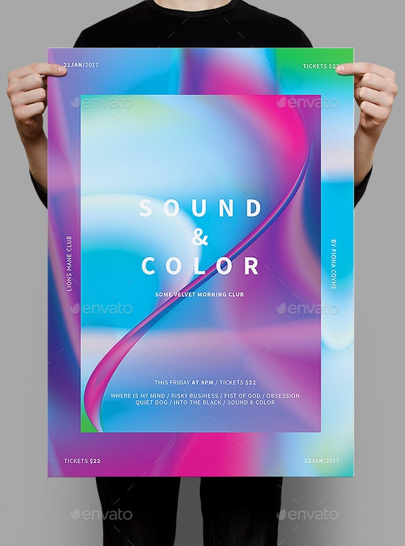 Sound & Color Poster / Flyer - Clubs & Parties Events