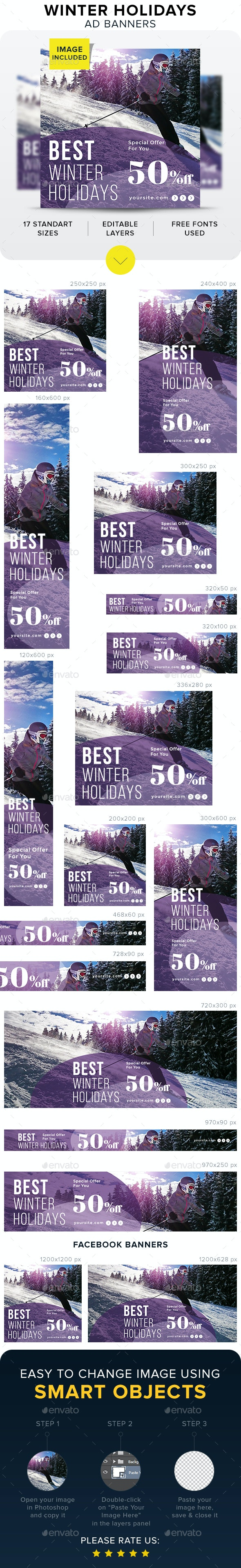 Winter Holidays Banners - Banners & Ads Web Elements