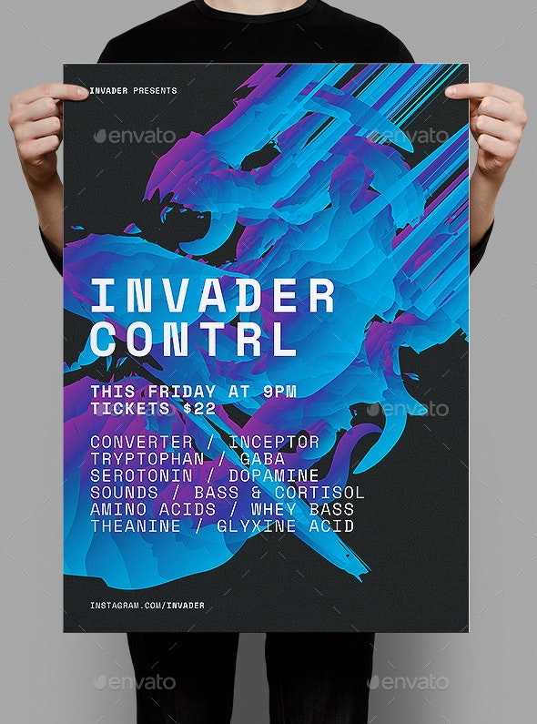 Invader Control Poster / Flyer - Clubs & Parties Events
