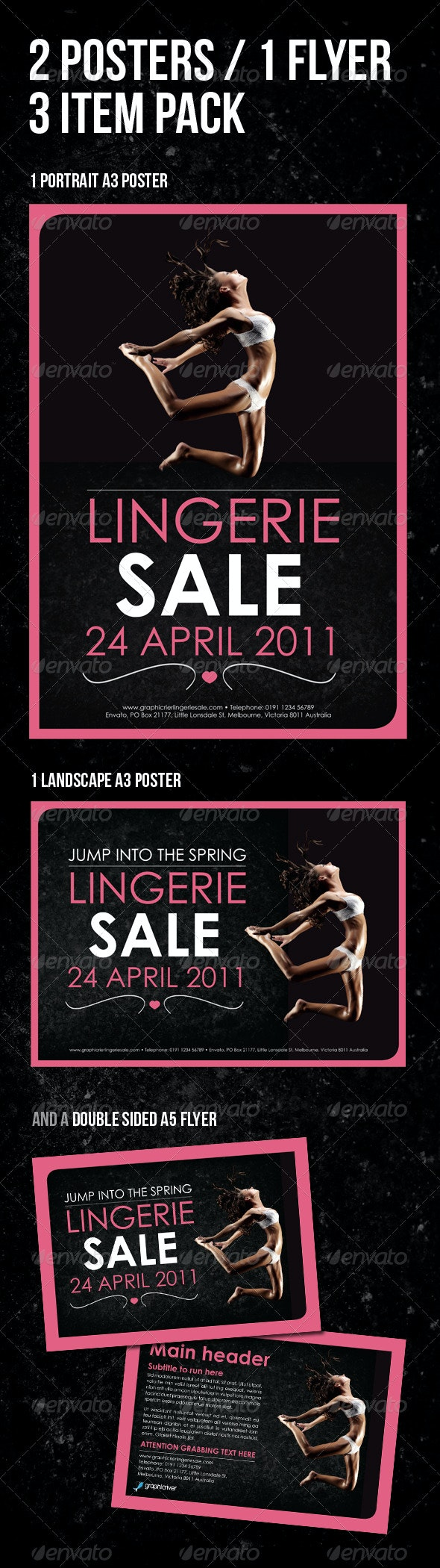 Lingerie A3 Poster / A5 Flyer Pack. 3 items - Commerce Flyers