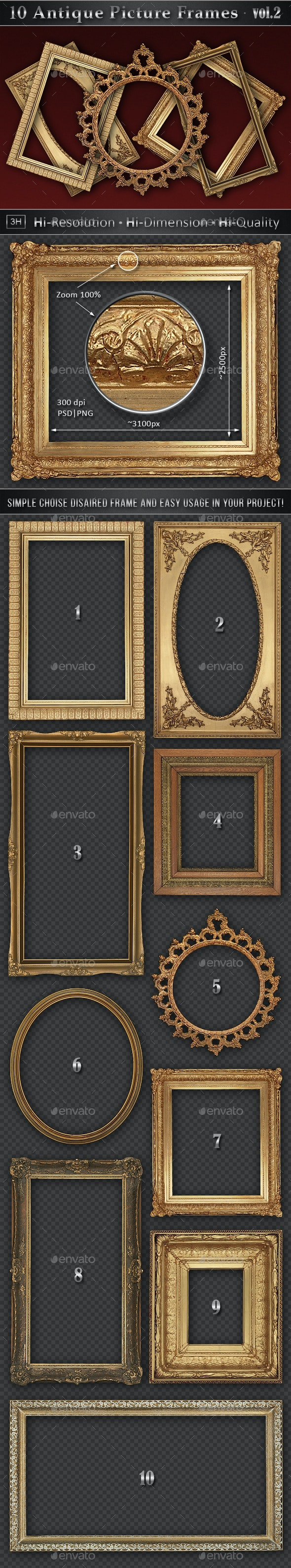 10 Antique Classic Picture Frames vol.2 - Home & Office Isolated Objects