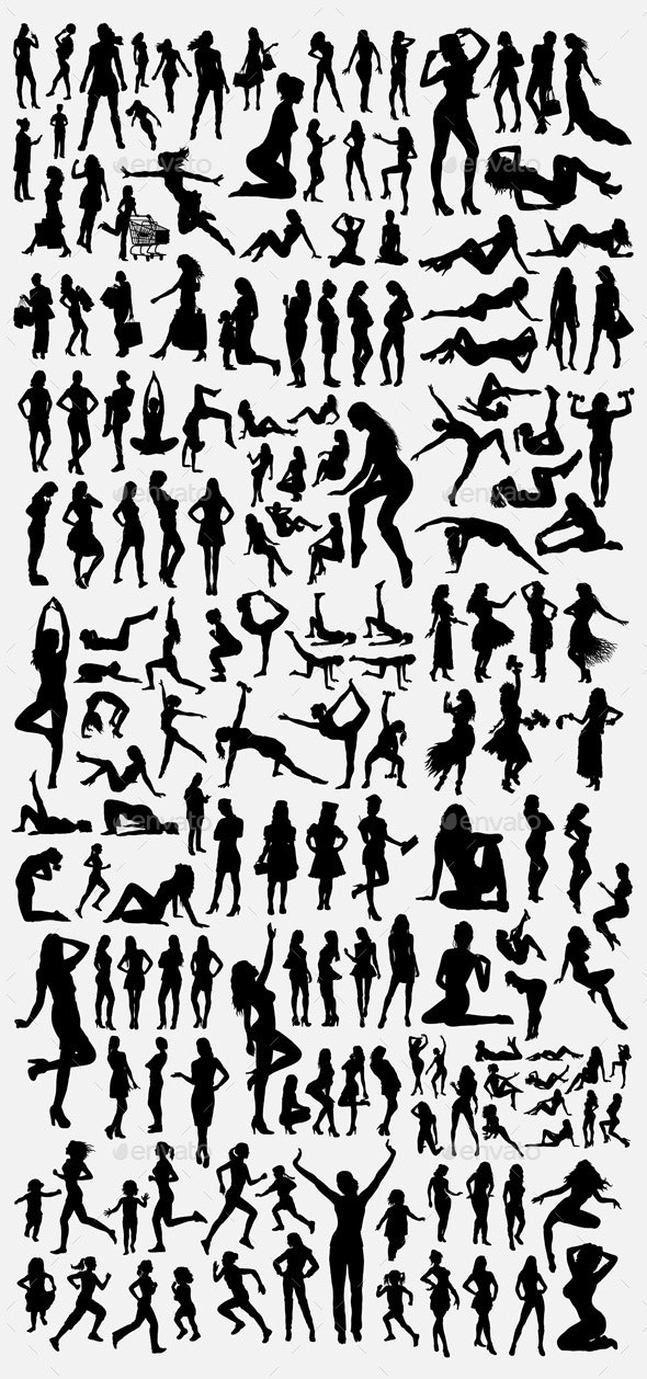 100+ Female Silhouette - People Characters