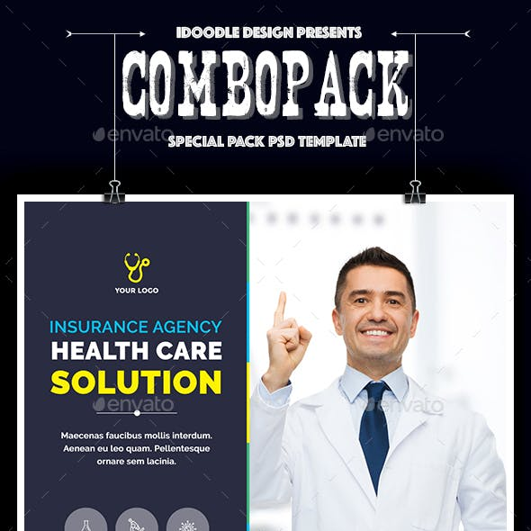 Combo Pack - Medical Agency Special Pack (Banner Ads, Print Ready, Social Cover) - 30 PSD