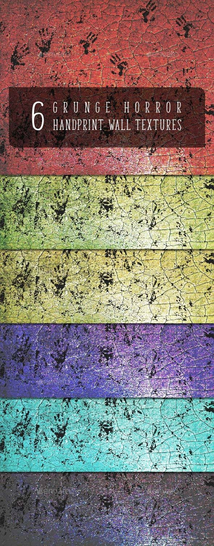 6 Grunge Horror Hand Print Wall Textures