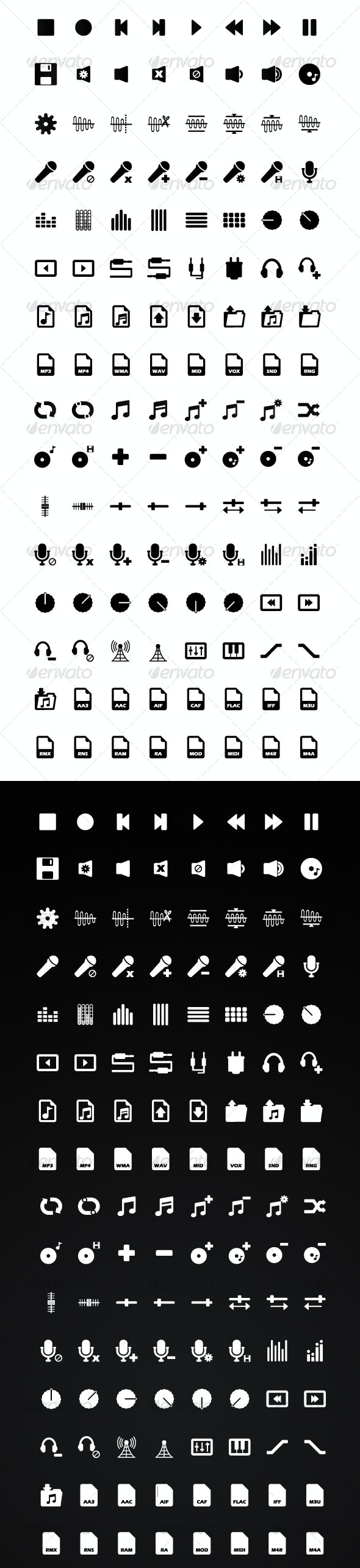 128 Audio / Music Application Icons: Black & White