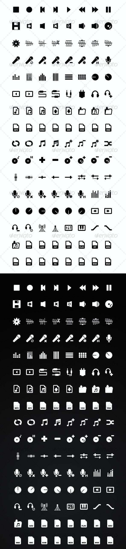 128 Audio / Music Application Icons: Black & White - Media Icons
