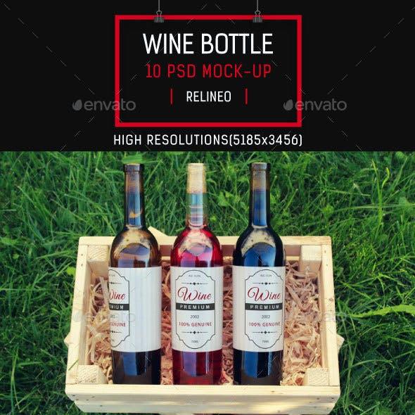 Wine Bottle Label Mock-up Pack