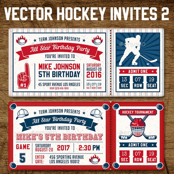 Vector Hockey Invites Print Templates 2
