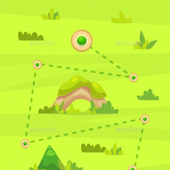 Cartoon Game Map for Casual Games. Graphic User
