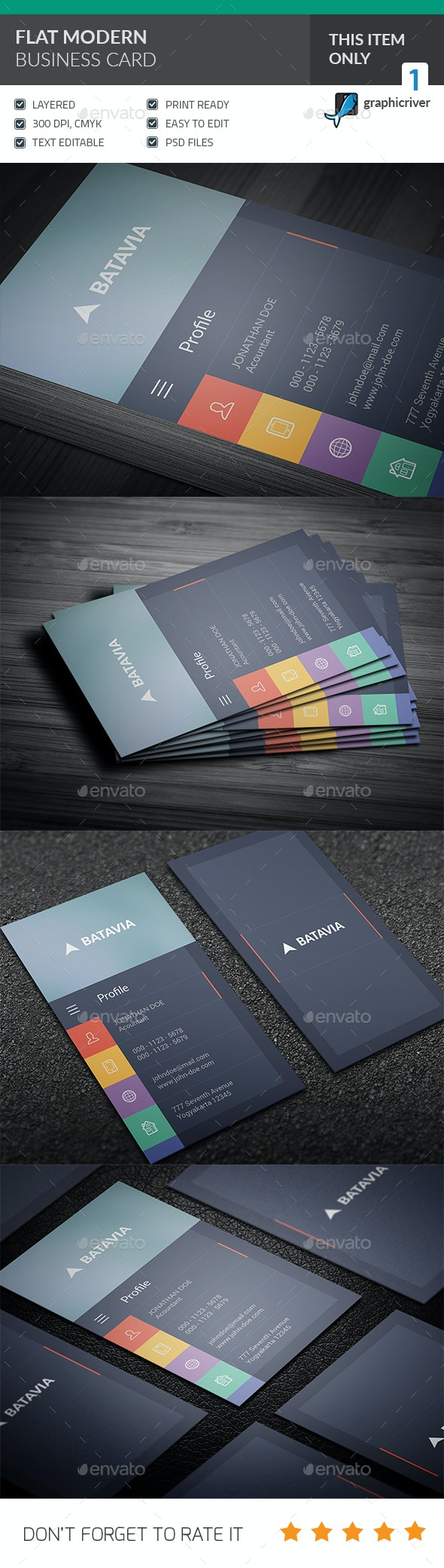 Flat Modern Business Card - Corporate Business Cards