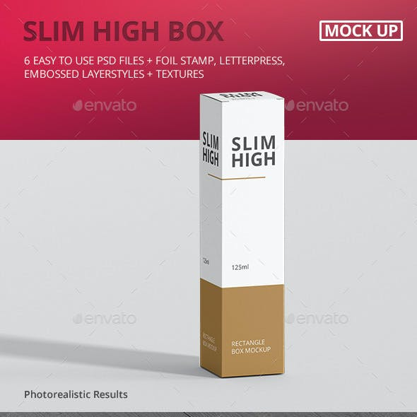 Box Mockup - Slim High Rectangle