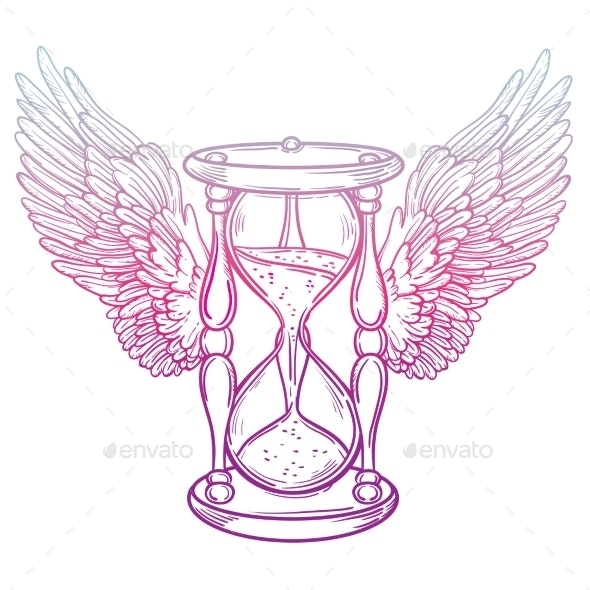 Decorative Antique Hourglass Illustration